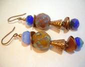 Waterfall - Copper Czech and Picasso Bead Earrings