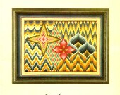 Florentine Reflections Bargello Four Petal Flower Point Star Diamonds Chevrons Swags Needlepoint Tapestry Craft Pattern Leaflet