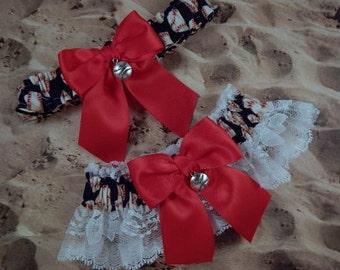 Baseball Navy Blue Red Satin White Lace Baseball Charm Wedding Garter Toss Set