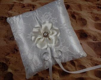 White Satin White Lace White flower Rhinestone Wedding Ring Bearer Pillow