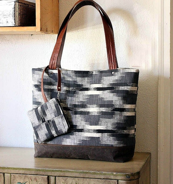 Canvas tote bag IKAT upholstery fabric Waxed Canvas bottom/