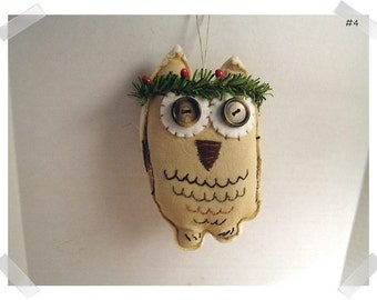Wise Old Muslin Owl Ornament/Muslin Fabric/ Handmade/ #4*