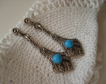 Vintage Art Deco Marcasite Opaque Turquoise Glass Silver Earrings