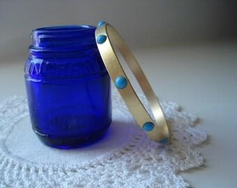 Vintage Opaque Turquoise Czech Glass Matte 8 Inch Gold Bangle Bracelet Mid Century Classic