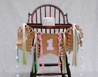 PASTEL Birthday Banner Girl-1st Birthday HIGH CHAIR Banner-Banners-Birthday Banners-Custom Banners-Party Banner-Photo Prop