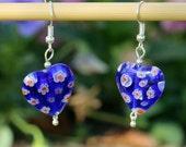 Millifiori Glass Heart Earrings
