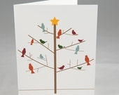 Winter Tree and Birds Holiday A2 Folded Cards (Choose a phrase for the inside) (Set of 10)