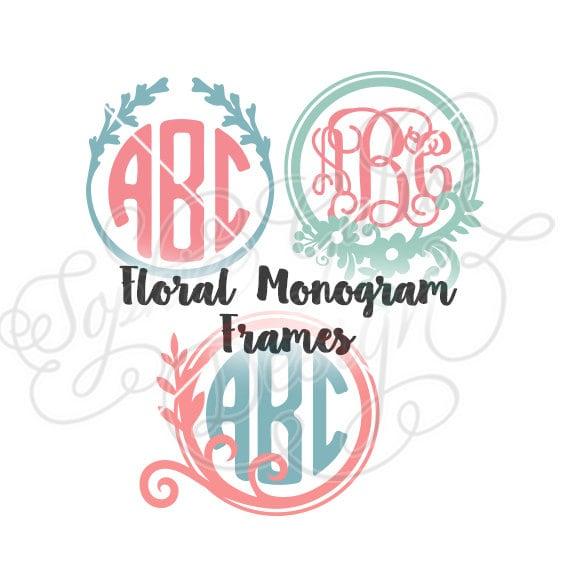 Shop Floral Monograms At Littlebrownnest Etsy Com: Floral Round Monogram Frames SVG & DXF File For Cricut