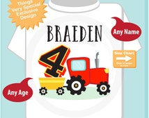 Fourth Birthday Red Farm Tractor Shirt, Personalized 4 year old Farmer Shirt, 4th Birthday tractor Shirt, childs name and age (07072015f)