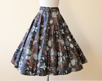 50s Skirt - Vintage 1950s Skirt - Novelty Print Glitter Metallic Cotton Circle Skirt w Butterfly and Fans S - Opium Dreams