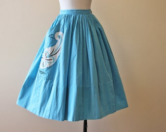 50s Skirt - Vintage 1950s Skirt - Aqua Blue Novelty Cotton Art Skirt w Partridge Bird S - C'mon Get Happy