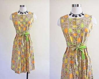 50s 60s Dress - Vintage 1960s Dress - Mod Citrus Split Skirt Cotton Jumpsuit Sundress M - Lime Rickey