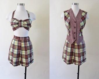 1940s Swimsuit - 40s Playsuit - Rare Vest Halter Shorts Plaid Cotton Swimsuit Romper Summer Play Set S M - Madeline