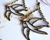 The Falcon Spirit Has No Fear - Earrings - Vintage Inspired, Bird Earrings, Antique Brass Hook Ear Wires