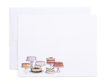 Fancy Cakes Flat Note Cards / Sweet Treats, Cakes, Bakery Stationery, Baker Stationery, Hostess Gift, Cake Note Cards, Wedding Note Cards
