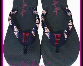 Baseball Flip Flops St Louis Cardinals Flip Flops Custom design wedge Mom Girl Sports Ribbon STL ribbon team colors
