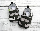 Classic Vegan Mustache Black and Grey All Fabric Soft Sole Baby Shoes / Made to Orders / Babies Boy Girl Gift