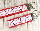Key Fob, Baseball Key Fob, Baseball Key Chain, Key Chain, Wristlet, Sports, Softball, Keychain, Red or Black