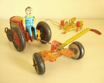 Marx tin toy tractor, mower, corn planter, 3 piece set Louis Marx Co. vintage 1940s 1950s collectible litho tin toys, farm set metal toys