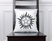 Supernatural Symbol Anti Possession Decorative Pillow, Home Decor, Throw Pillow, Tattoo, Black And White, Graphic