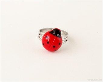 Ladybug Ring, Adjustable, Red, Kawaii Jewelry, Sweet Lolita