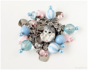 Cat Charm Bracelet, Fairy Kei, Pastel Pink, Pastel Blue, Cat Jewelry, Kawaii Bracelet, Stainless Steel
