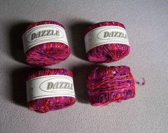 4 Skeins DAZZLE TRELLIS YARN. Red. Orange. Purple