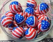 20mm American Flag Print Acylic Beads Qty 10, Patriotic, Military