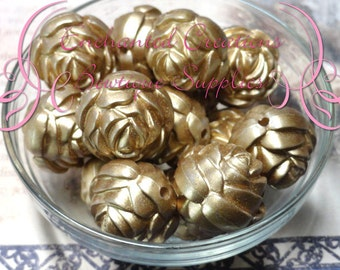 24mm Gold Rose Beads Qty 10