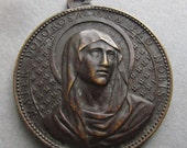 Virgin Mary Mother Of Sorrows Antique French Religious Medal With Saint Monica Signed Penin  SS343