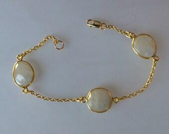 Multiple Stone Bezel Gold and Gold Filled Chain Bracelet, Moonstone, Rutilated Quartz