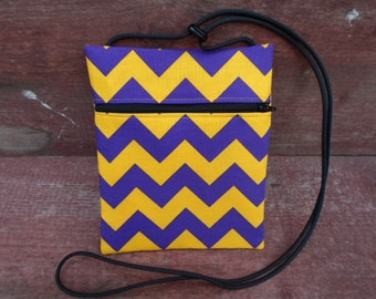 Purple & Yellow University of Northern Iowa (UNI) Chevron Cross Body Pouch