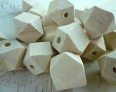 Geometric Wooden Beads - Natural - 16mm - Pack of 10