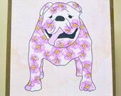 Bulldog Art Block - Large Dog Art Block - Rustic Finish- Watercolor Flower Dogs- Home Decor- Nursery Decor- Dog Wall Art- Milk Paint