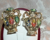 Unique Vintage Chalice Vase or Urn Clip Earrings Foiled Artglass Stones - FREE SHIPPING