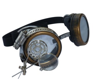 Steampunk goggles DJ club dance cyber diesel punk biker goth rave target lens
