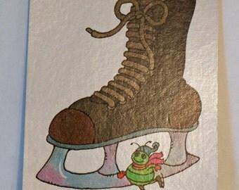 Vintage Flash Card ICE SKATE Green Bug Nursery Art Decor Paper Ephemera Bright Colors 1977 Milton Bradley
