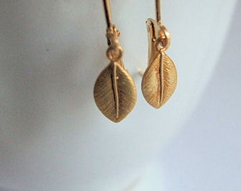 Tiny Leaf Earrings in Gold, Minimalist jewelry, Small leaf charm, Gift for, Christmas, Birthday