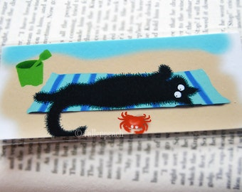 Black Cat at Beach Lamiinated Bookmark - Sammy at the Beach Illustration