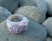 Carved Druzy Amethyst Geode Ring - Size 9.75 - Healing - Positive Energy - Crystals - 6th Chakra Support - Pineal Third Eye - READY TO SHIP