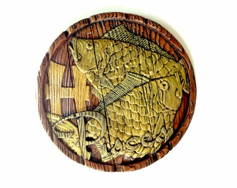 Vintage Pisces Horoscope Sign Plaster Wall Plaque