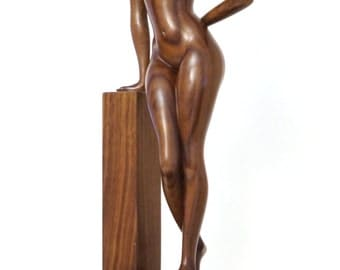 "Nude Woman Wood Sculpture "" Fifty Shades of Brown"""