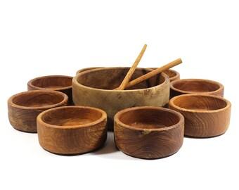 11 Piece Vintage Wooden Salad Bowl Serving Set