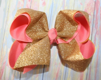 "Sparkle Shine Glitter Gold & Coral Extra Large Jumbo Sparkly Bling Hair Bow - 2.25"" Grosgrain Glitter Ribbon -- Dance, Cheer, Party, FUN!"