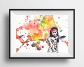 Walking Dead Michonne Poster Print From Original Watercolor Painting - 8 X 10 in. Print The Walking Dead Poster Print