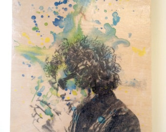Wood Wall Art Panel Bob Dylan Art Print from Original Watercolor Painting on Wood 8x10 in Bob Dylan Print On Wood Panel