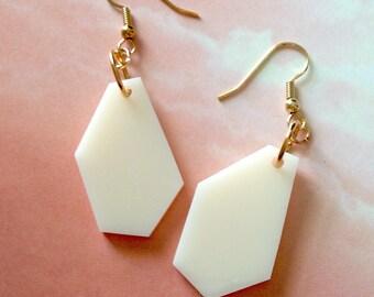 Geometric Shape Dangle Earrings in Cream Acrylic Plastic, Geo Earrings, Lasercut Jewelry