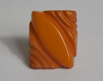 1930 1940 Large Vintage Bakelite Carved Butterscotch Ring Rare