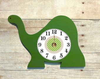 wooden dinosaur wall clock  boy's nursery decor wooden name sign dinosaur wall art dinosaur clock wall decor kid's wall hanging dino clock