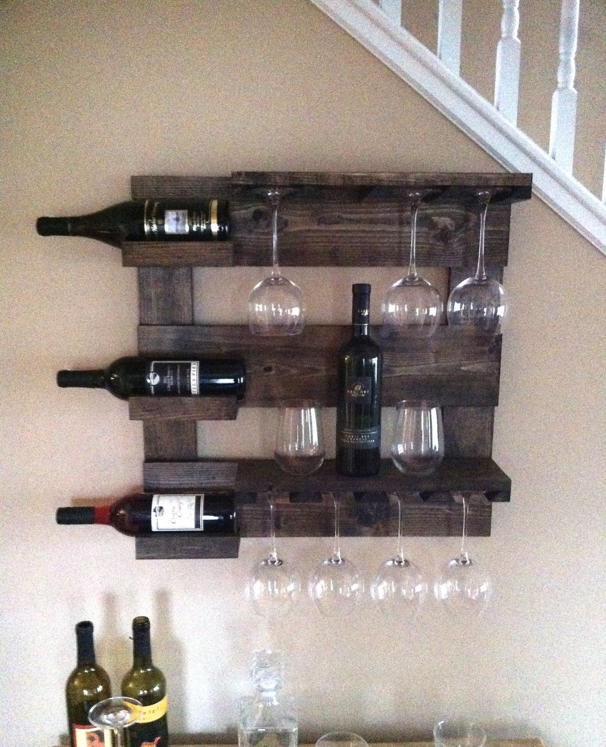 Wine Rack Rustic Wine Rack Reclaimed Wood Wall Wine Rack